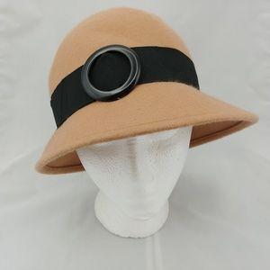 Tan Cloche Hat Black Ribbon Band Circle Buckle